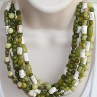 Chunky Green Jade Statement Necklace, Beach Wedding Stone Necklace