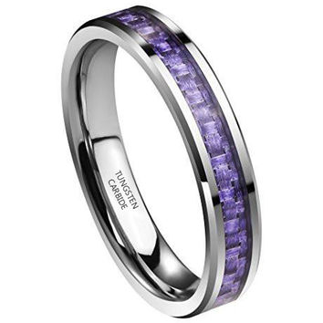 4MM Womens Tungsten Carbide Carbon Fiber Purple Inlay Wedding Bands Ring Comfort Fit