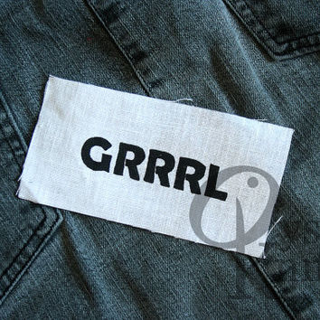 Grrrl patch white - riot grrrl, girl power, feminist, grrl, punk, bikini kill, pussy riot, bratmobile