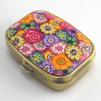 Polymer Clay Covered, 2 Compartment Pill Box
