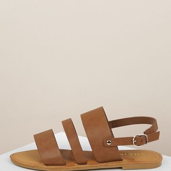 Strappy Open Toe Buckled Heel Strap Sandals
