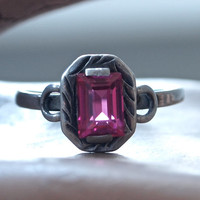 Sterling Silver Czech First Republic Ring with Raspberry Ruby Color Emerald Cut Stone Carved Details Art Deco size 7.75