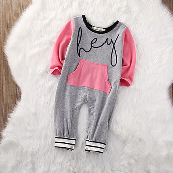 2016 Newborn Baby Boys Girls Long Sleeve  Romper Jumpsuit Outfits Set Clothes