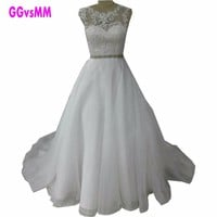 Glamorous White Wedding Dresses 2017 O-Neck Organza Appliques Lace Ball Gown Sweep Train Ivory Wedding Gowns Long Wedding Dress