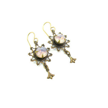 Victorian Revival Earrings.  Opal Glass, Sunburst Filigree Dangles. French Hooks. Glowing Cabochons. Vintage 1950's Victorian Style Jewelry