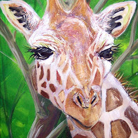 Giraffe Head-Giclee by Jen Callahan Canvas Wrap