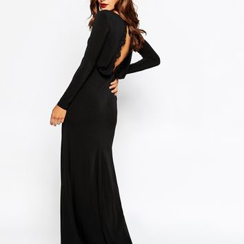 ASOS Cowl Back With Scallop Lace Detail Maxi Dress