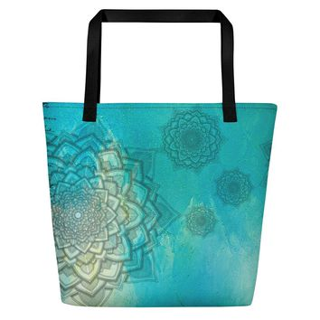 Aqua Marine Mandala Beach Bag
