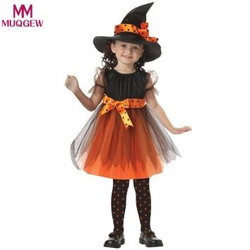 Festival Coaplay 2-15 Years Children Witch Costume for Kids Enfant Set Dress for Girls Hat for Baby Girl Masquerade