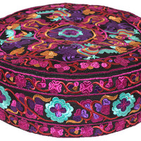 Embroidered Floral - Fuchsia - Floor Pillow
