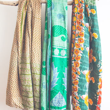 Vintage Jade Kantha Throw