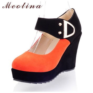 Meotina Shoes Women Pumps Spring Autumn Mary Jane Casual Platform Shoes Wedges Heels Flock Sequined Beige Red Plus Size 41 42 43