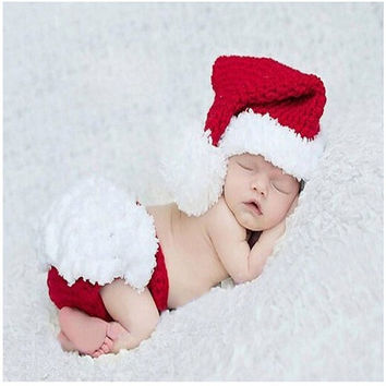 New Born Baby Girls Boys Christmas Crochet Knit Costume Clothes Photo Photography Prop Hat (Color: Red) = 1958090372