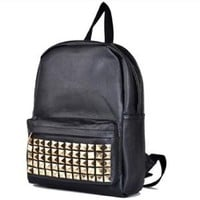 BLACK PU Studded Backpack School Bag Classic Stylish Look for School -JAM Closet