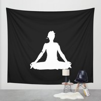 yoga pose chakra black and white silhouette Wall Tapestry by Xiari | Society6