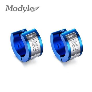 Modyle Blue Statement Earrings for Men Stainless Steel Punk Earrings Jewelry