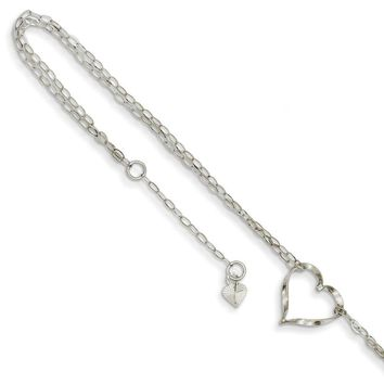 14kt White Gold Looped Chain With Hollow Heart Charm Ankle Bracelet