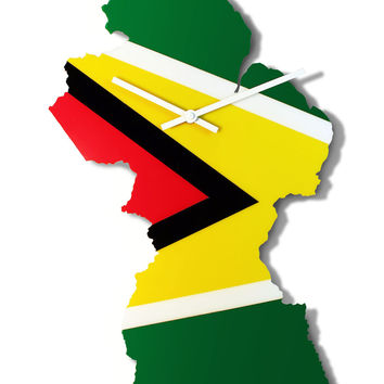 Map Wall Clock - Guyana Map and National Flag