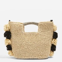 Bali Pom Straw Tote Bag - Straw Bags & Hats - Bags & Accessories