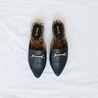 Swirl Black Loafer Slides - Luca + Grae