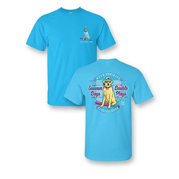 Sassy Frass Summer Days Double Plays Baseball Softball Dog Bright Girlie T Shirt