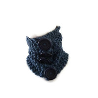 Hand knit Blue Chunky Cowl with Buttons, Chunky Cowl, Knit Cowl, Cowl with Buttons