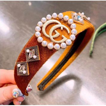 GUCCI Hot Sale Women Stylish Pearl Diamond Velvet  Headband Head Hair Band Accessories Brown