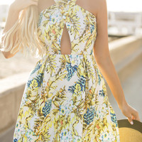 Meredith Fit and Flare Yellow Floral Dress