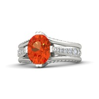 Oval Fire Opal 14K White Gold Ring with Diamond & White Sapphire
