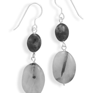 Quartz and Labradorite French Wire Earrings