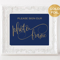Navy and gold Photo Frame Instant Download -  Guest Book Sign - Reception Signs - Navy Wedding Decor - Downloadable Wedding