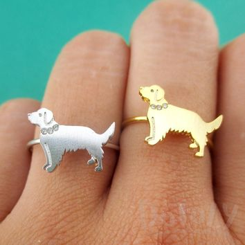 Golden Retriever with Rhinestone Collar Shaped Adjustable Ring in Silver or Gold