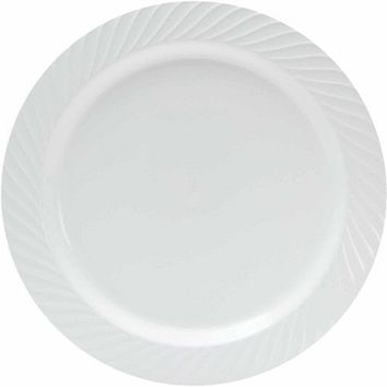 10.25 Plastic Dinner Plates, White, Set Of 20