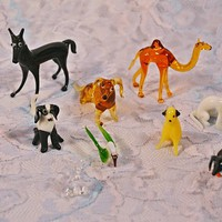 FREE SHIPPING Collection Of Miniature Glass Animals, Vintage Hand Blown Glass, Horse, Camel, Monkey, Dogs, Cat, Bird