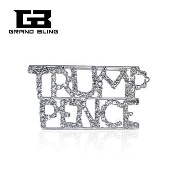 "Grandbling Unique Custom Rhinestone Letter Brooches "" Trump Pence"" Words Pin"