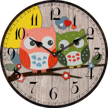 Bird Style Kids Owl Wall Clock Vintage Antique Wooden Wall Clock Modern Design Large Decorative Wall Clocks Home Decor