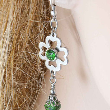 Four Leaf Clover Earrings, Irish Earrings, Celtic Dangle Earrings, 4 Leaf Clover Earrings, Drop Earrings