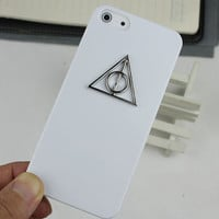 White Hard Case Cover With Deathly Hallows Harry Potter for Apple iPhone5 Case, iPhone 5 Cover,iPhone 5s Case, iPhone 5gs