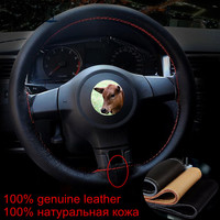 DIY Genuine  Leather Car Steering  Wheel Cover With Needles and Thread Universal Funda Volante Cuero
