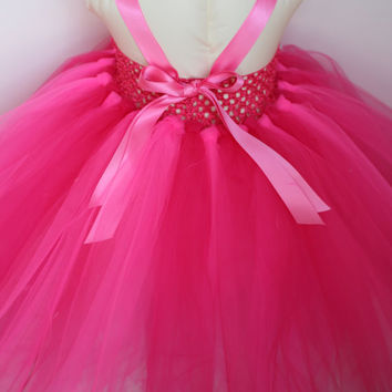 Valentine's Day Pink Tutu Dress, Sizes 6 months-4T, Shabby Chiffon Roses, Dress up, Photo Shoot, Birthday Party