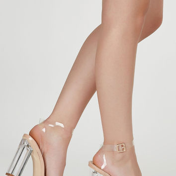 Bare It Clear Block Heels