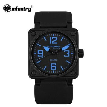 INFANTRY Mens Quartz Watches Marine Military Sports Military Watch Original Brand Aviator Blue Silicone Watch Relogio Masculino