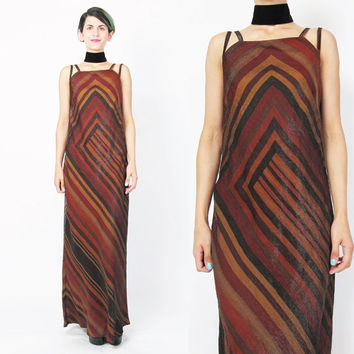 90s Geometric Striped Dress Minimalist Modern Maxi Dress Double Shoulder Straps Bandage Fall Autumn Colors Bias Cut Dress Floor Length (S)