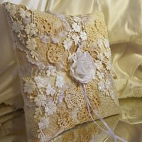 Vintage Wedding Ring Bearer Pillow, handmade of vintage lace and ivory satin.
