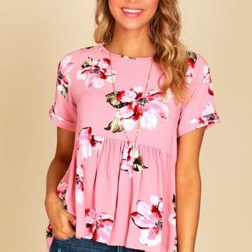 Short Sleeve Floral Peplum Top Pink
