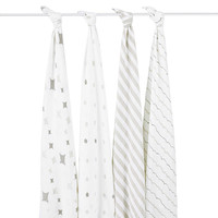 aden® by aden + anais® Shine On 4-Pack Classic Muslin Swaddle Blankets in White/Grey
