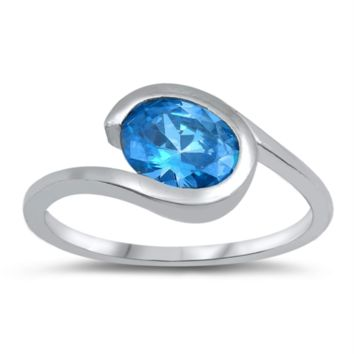 Oval Cut Blue Aquamarine Modern Ring Size 4-10 in .925 Sterling Silver