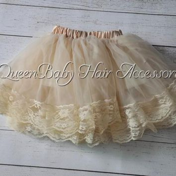 5 pcs/lot Champagne Lace Pettiskirt Lace Tutu Baby Girl Lace Pettiskirt Couture Pettiskirt