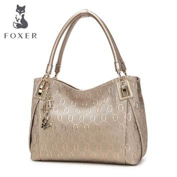 FOXER Brand Women Cow Leather Shoulder bag Fashion Design High quality Women's Handbag Female Handbag Chain lines Shoulder bags
