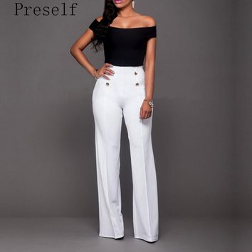 Preself High Waist Wide Leg Boot Cut Pants Summer Women Fashion Elegant Button Office